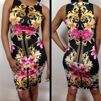 Desigual dress 2014 New star models sexy positioning baroque print dress sleeveless bandage dress package hip