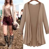5 Colors New 2014 Autumn Fashion Women Casual Cardigan, Flounce Hemline Solid Color Loose Coat Cardigan, Big Size Y32 E3119