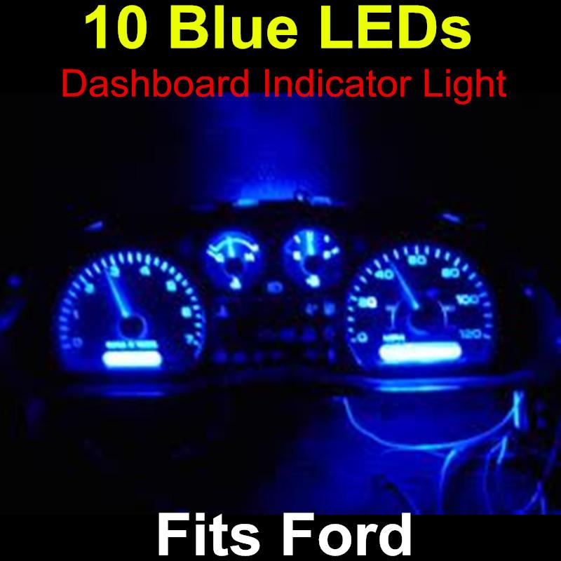 For Ford 10x Blue T5 Led 5050 SMD LEDs Dashboard Light Bulbs Car Led Instrument Panel Indicator Light Bulb Socket(China (Mainland))
