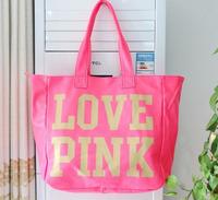 2014 Hot Victoria Pink Neon  Candy Color Large Shoulder Bag Beach Travel Bag  Work Tote Bag Vs Love 1001