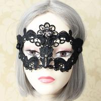 Women Sexy Gothic Black Rhinestone Flower Lace Masquerade Face Eye MASK Elastic Patch Phantom Party Mardi Gras Dance Accessory
