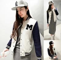 9126 # 2014 new Women Korean baseball uniform cardigan jacket women's plus size outwear free shipping