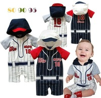 2014 summer sport style baby boys romper/Striped cotton baby jumpsuit with hooded/Popular baby clothes