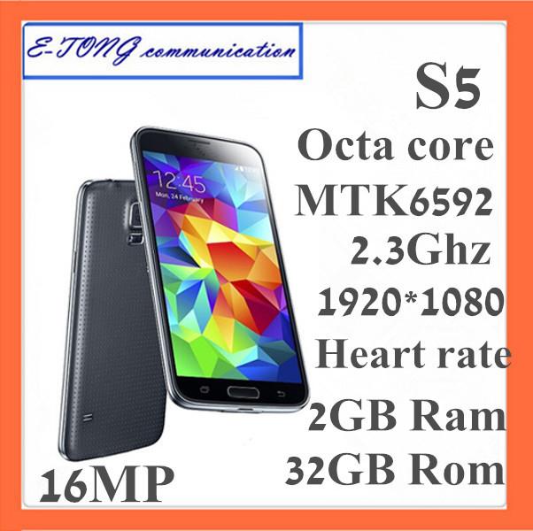 Neue perfekte i9600 echte mtk6592 original s5 telefon 2gb ram 32gb rom Herzfrequenz 16MP 2,3 GHz 1920*1080 entschließung handy