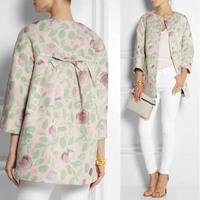 Top Quality Autumn 2014 Brand Design Back Bow Elegant Flower Printed Loose Short Coat for Women 140725JD01