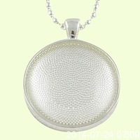 F1861sliver Necklace Sets: 25mm Circle Pendant Trays + 25mm Glass Cabochons  + 24 Inches Ball Chain necklaces+DIYpicture