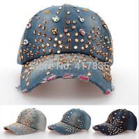 2014 new design most popular fashion rhinestone denim women baseball cap men hat adult jean snapback caps Diamond rivets