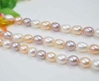 wholesale 3 strands white pink purple rice freshwater pearl