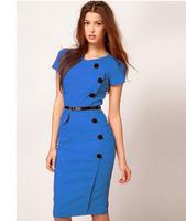 Classic Blue Elegant Womens' Short Sleeve Empire Waist Button Casual Bodycon Stretchy Knee-Length Pencil Dress Plus Size XS-XXXL
