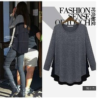 Free shipping big size clothing spring wool knitted t-shirt fashion loose chiffon patchwork basic pullover sweater female