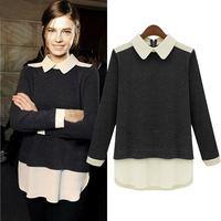 Free shipping 2014 big size long-sleeve chiffon shirt collar plus size clothing shirt female