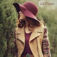 new 2014 british stylel autumn winter women's fedoras vintage lady floppy hat wool large brim sun hats 12 colors free shipping