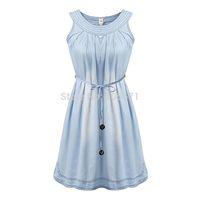 2014 New Models Europe And America Style Ladies Summer New Design Fresh O-Neck Sleeveless Denim Dress With Sashas High Quality