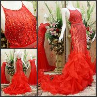 Luxury Backless Spaghetti Strap Trumpet Mermaid Crystal Vestido Prom Celebrity Evening Formal Party Dress Bridal Gown(XNE-ED107)