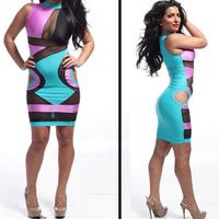 European and American nightclub sexy low cut gauze perspective hollow Slim package hip dress N18