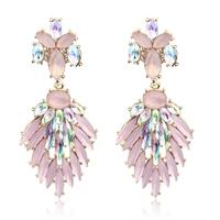 2014 new design JC fashion luxurious jewellery earrings pink shell crystal dangle drop earrings for women