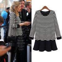 Free shipping 2014  female stripe 100% cotton lycra knitted basic skirt plus size clothing long-sleeve dress