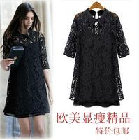 Free shipping 2014 big size clothing fashion high quality slim lace one-piece dress