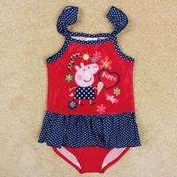 Free Shipping Retail 1PCS  2014 Peppa Pig Swimsuits Peppa Pig Summer Girl Bathing Suits Cartoon Peppa Pig Beach Suits