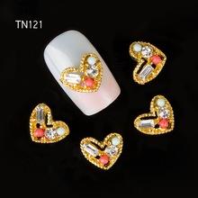 10pcs Alloy jewelry glitter colorfull love heart Crystal Rhinestone Zircon 3D Nail Art tools Decorations TN121(China (Mainland))