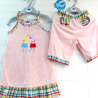 2013 New Pepe pink pig peppa pig girls Dress + Shorts Set, peppa clothing set