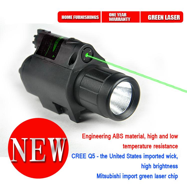 NEW!!!200 Lumen Tactical Laser Flashlight Combo & 5mw Green Laser Sight for pistol Free Shipping(China (Mainland))