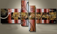 High Quality Handpainted Abstract Oil Painting 4 Panel Canvas Art Modern Picture Home Decoration No Framed Set