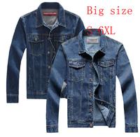 Free Shipping! 2014 New Spring Hot Sale Korean Fashion Plus Size 3XL 4XL 5XL 6XL Denim Casual Jacket Men Slim Jean Coat,B2392