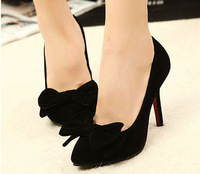 Free shipping 2014 spring new suede pointed bow princess shoes high-heeled shoes seasons women shoes XG116