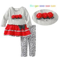 1PC RETAIL Kids clothes girl's fashion flower t shirt + leopard leggings 2pcs/set baby girl clothing size: 2T-6Y