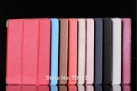 Express Ship Wholosale 100pcs/lot 10 Kinds Colors Business Folding Flip Slim Smart Book Cover Leather Case For Xiao mi pad Mipad