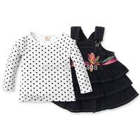 1PC RETAIL- New autumn 2014 Baby girl suspender skirt + t shirt 2pcs/set Toddler girl clothing size:2T-6Y