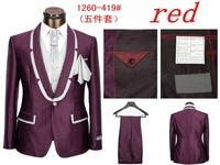 2014 Fall Men's Fashion Suits Five-piece Men Casual Loose Suits Men's suit Suits (Jacket + Vest + Tie + Square Towel + Pants)