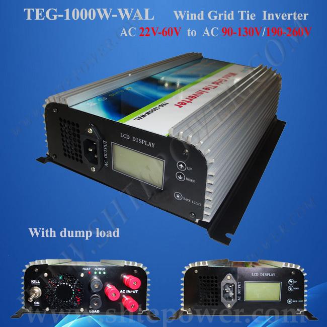 3Phase Wind Power Grid Tie Inverter for Wind Turbine System With LCD AC 24V 36V 48V to AC 220V 230V 1000W(China (Mainland))