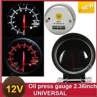 New Led Electrical Sensor Press 60mm For universal Car 12v Electric Adapter Oil Pressure Gauge White and Red light Black Face