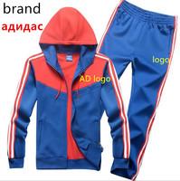 Free shipping,2014 autumn winter brand men sports track suit 100% cotton male sportswear sweatshirts