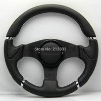 """13.5"""" NEW Millenium Leather Car Sport Steering Wheel 340mm Alloy Spoke 13056black  MOMO sliver racing steering wheel"""