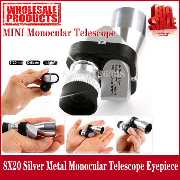 Verkaufsort! Mini-tasche 8x20 silber-metall monokulare fernrohr Okular mit Glanz nachtsichtgerät, versandkostenfrei
