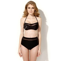 Colloyes 2014 New SexyBlackBikini Swimwear with Bandeau Top and High-waist Bottomin Free shippinhg