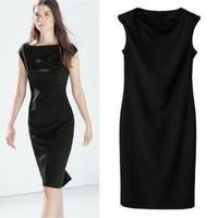 2014 New arrival Ladies' Elegant brief neck pleated black Dress slim fit sleeveless casual evening party brand designer dress