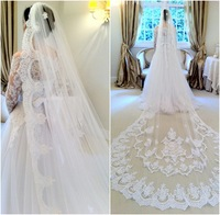 2014 Velo de Novia Three Meters Long Cathedral Wedding Veils Lace Ivory White One Layer Tulle and Lace Bridal Veils Purfle Comb