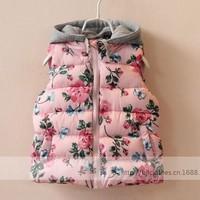 New arrival wholesale 5pcs/lot fashion winter cotton baby vest kids girl hooded floral coat princess print flowers warm vest