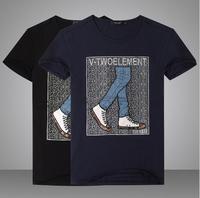 2014 new men's brand fashion cotton tee shirt casual short sleeve male loose Camiseta bordada t shirt crew neck plus size XXXL