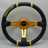 New 350mm Racing Sport PVC MOMO Steering Wheel Universal 13050 yellow  with horn