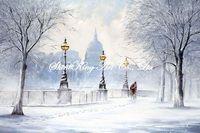 handmade  impressionist  landscape oil painting on canvas beautiful snow scenery SNOW1147 60x90cm