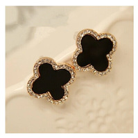 Min order is $10(mix order)2014 new arrived European and American Black Clover Earrings stud earrings for women EH568
