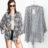 2014 New arrival Ladies' Vintage Snake Print loose kimono coat non-button Belt cape outerwear casual slim brand designer tops