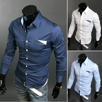 The new Korean version of the new spring and summer fashion Slim   100% cotton long-sleeved shirt