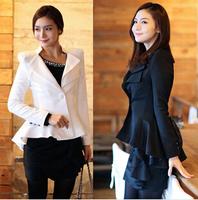 New 2014 Fashion Good Quality Women Blazers, Slim Temperament OL Small Suit Jacket Long Sleeve Flouncing Irregular Blazer