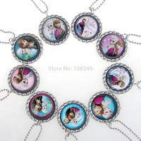 Mixed Frozen Necklace Princess Pendants Cartoon Flatback Cameo Cabochons Baby Kids Jewelry Accessories Elsa Anna Cloth Accessory